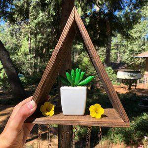 Handmade Wood Triangle Shelf Organizer